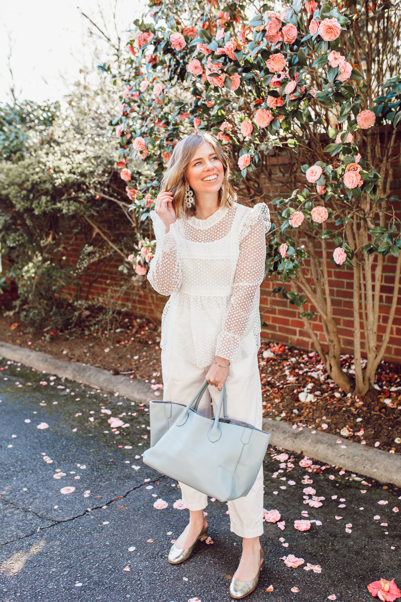 Inspired ideas for how to style white pants before Memorial Day   Louella Reese   Ft. Chicwish, Everlane, Beck Bags
