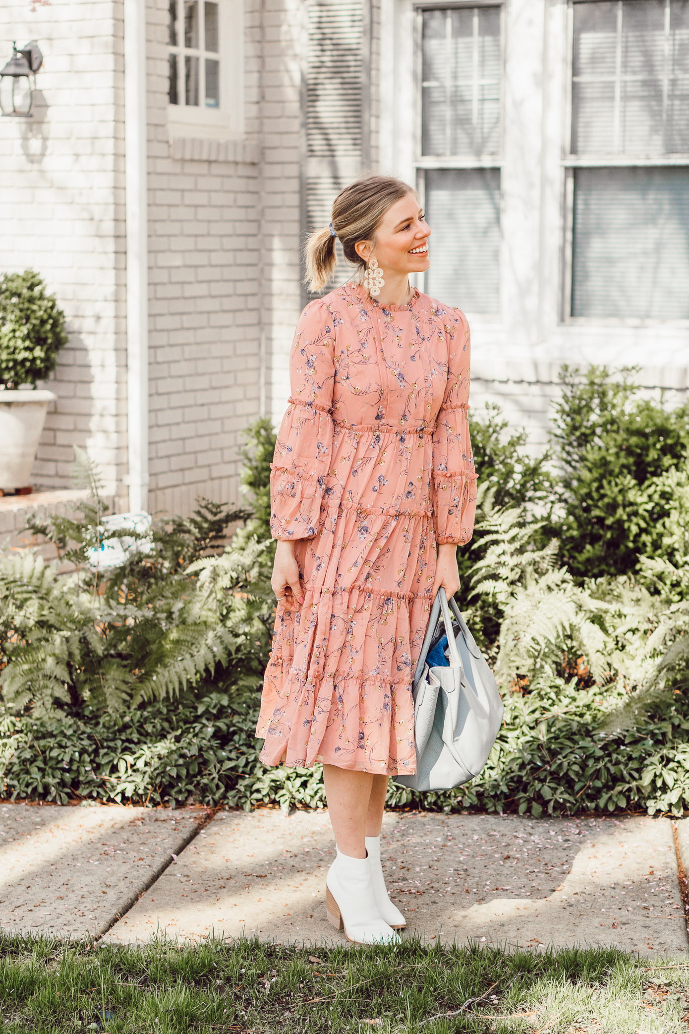 Louella Reese March 2019 Recap | Pink Floral Midi Dress, Beck Bags Medium Classic Tote, Marc Fisher White Booties