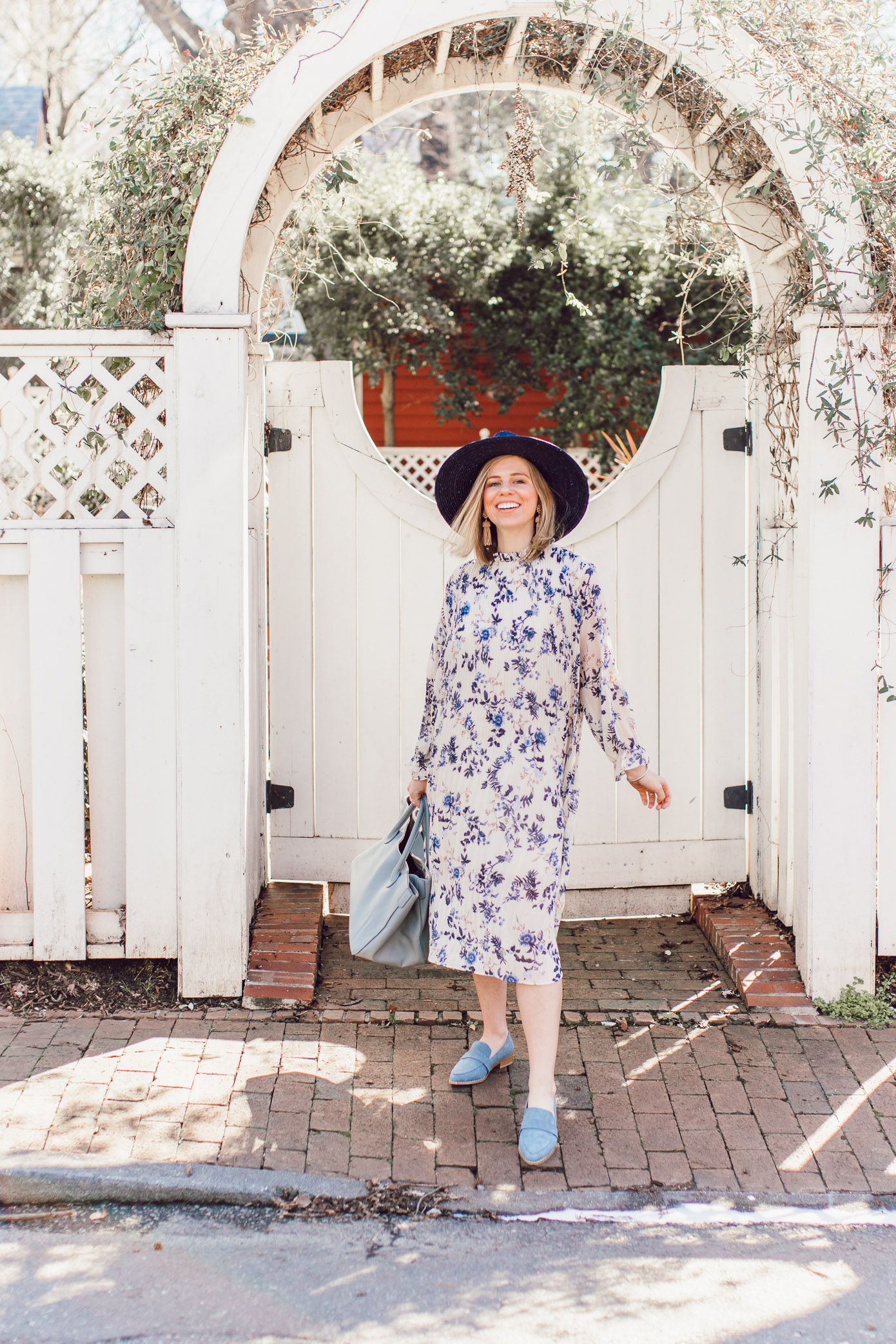 Spring Bridal Shower Dresses for the Bride and Guests | Blue Floral Midi Dress, Blue Suede Loafers, Navy Straw Hat styled on Louella Reese