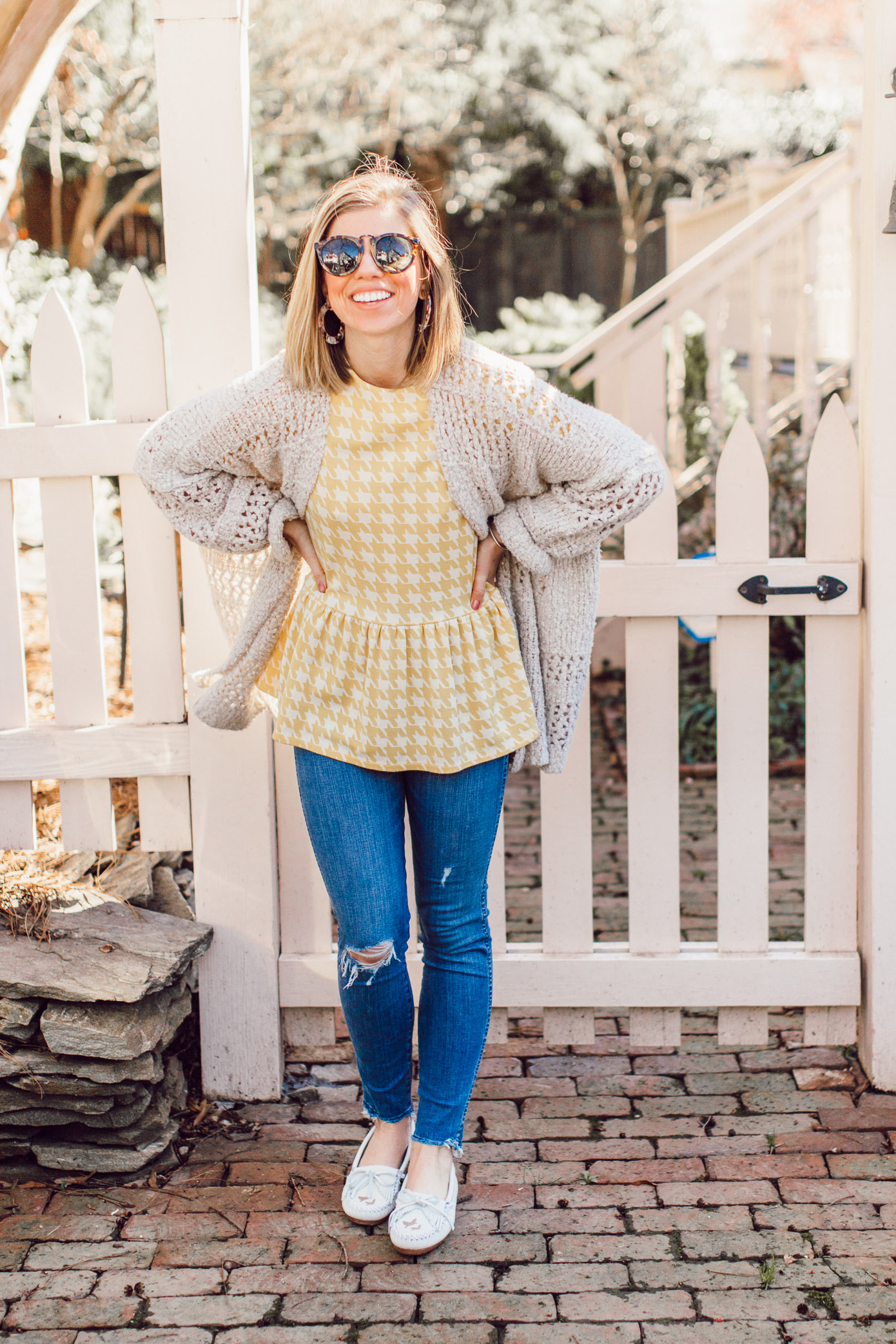 Spring 2019 Trend: Yellow | Yellow Jacquard Top, Crochet Sweater, High-rise Skinny Jeans, White Moccasins styled on Louella Reese