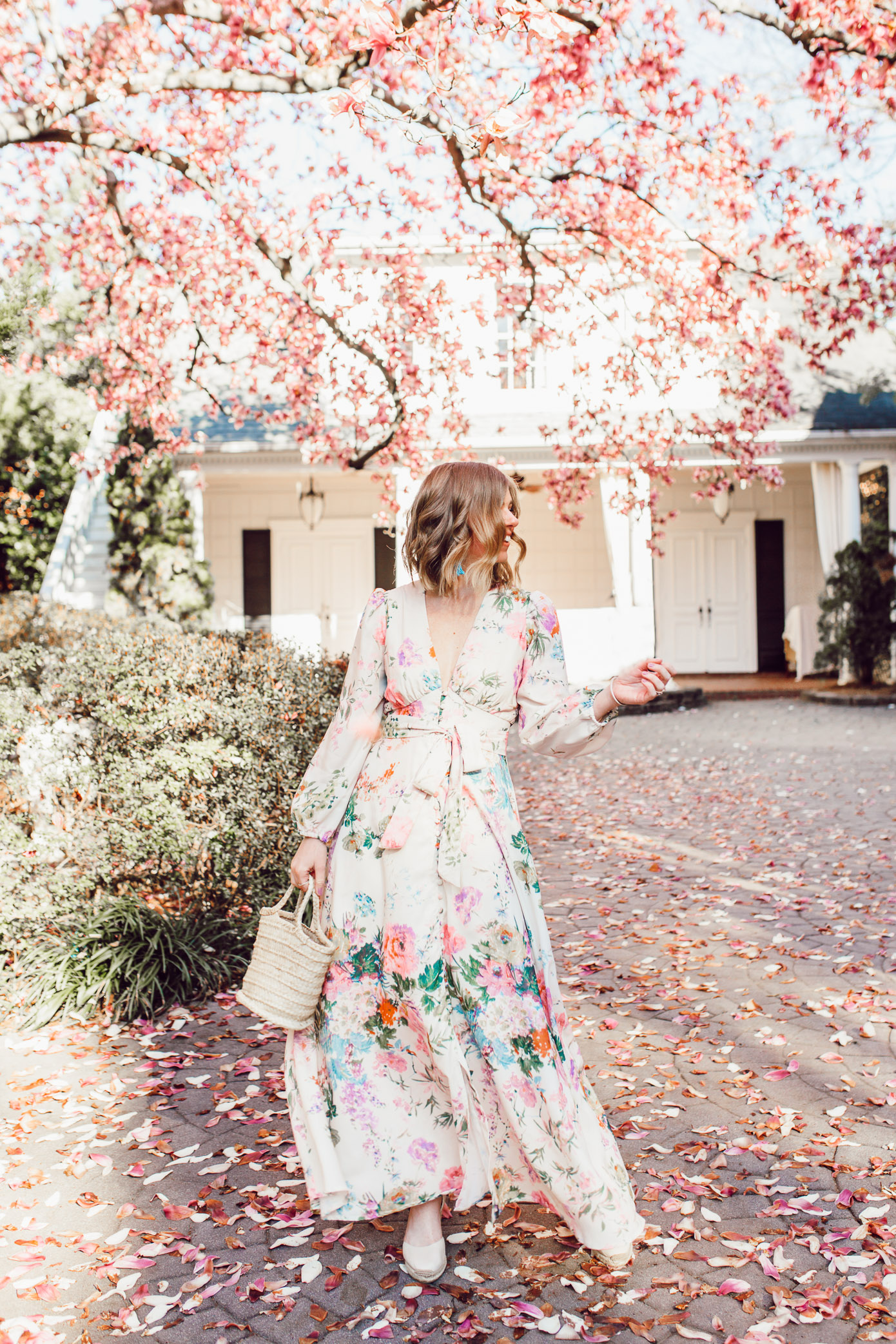 Laura Leigh Elliott styles a long sleeve floral maxi dress for Easter | Louella Reese | | ft. Chicwish, Soludos, Lisi Lerch
