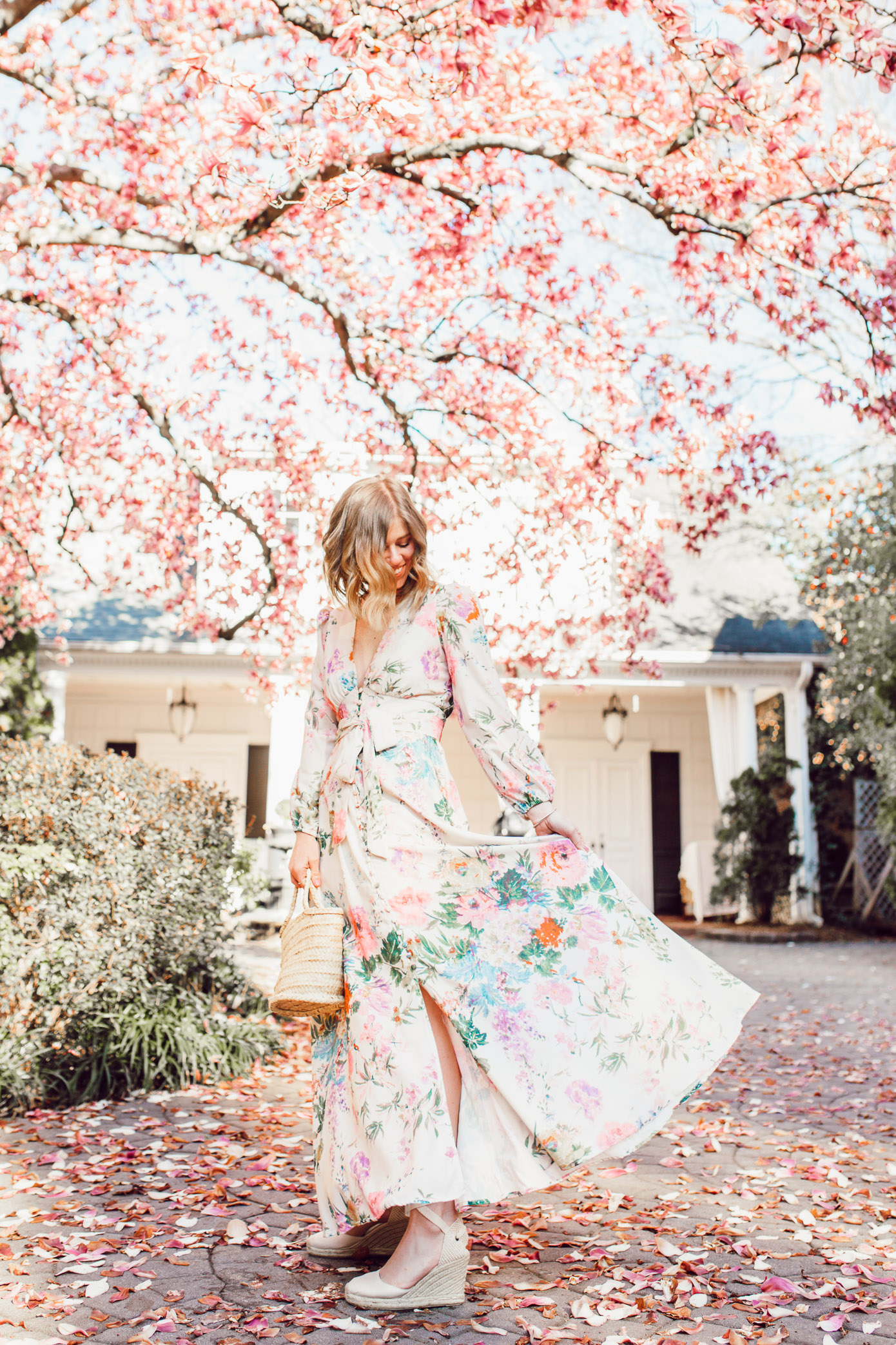 How to pull off a long sleeve floral maxi dress + the cutest maxi dresses to buy and wear this season | Louella Reese | ft. Chicwish, Soludos, Lisi Lerch