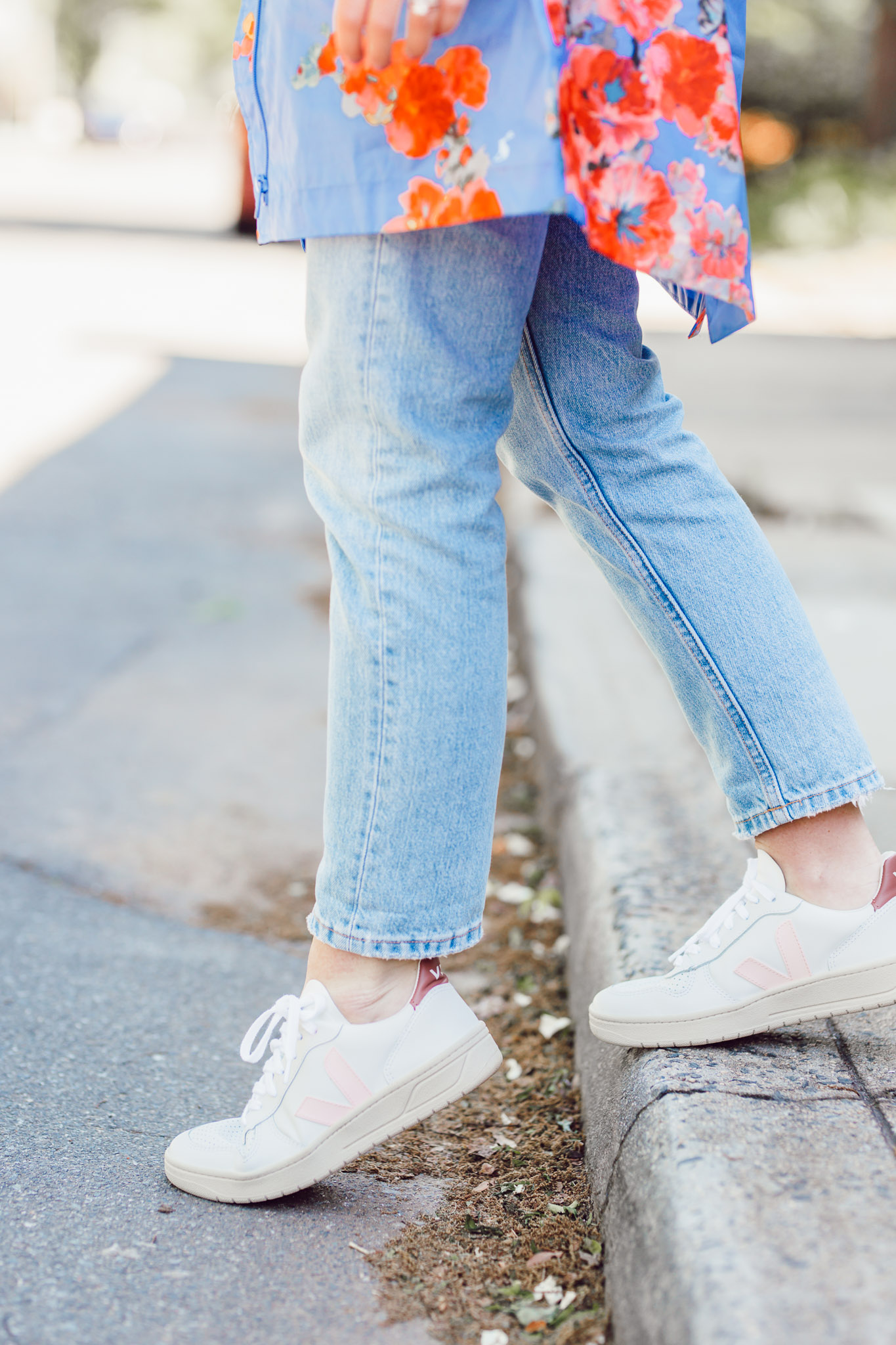 Cute Rainy Day Outfit Ideas | Veja Pink Sneakers | Louella Reese