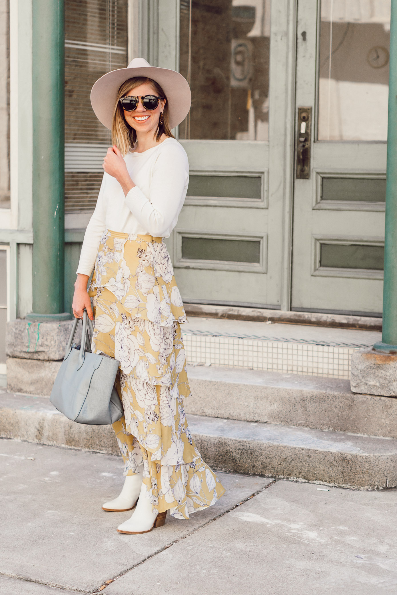 Start Spring In Style With This Yellow Floral Maxi Skirt | Louella Reese