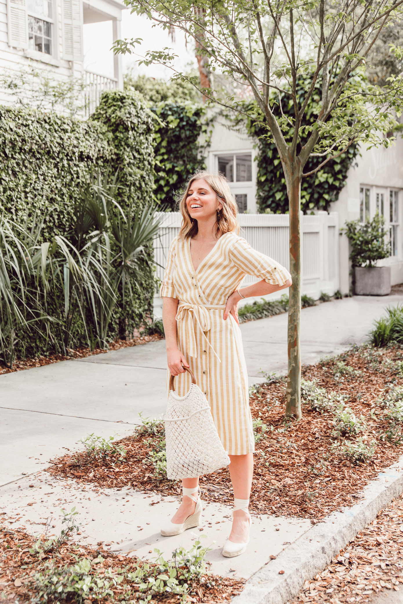 The best spring trends to try with Versona this Spring | Yellow Striped Midi Dress | Louella Reese