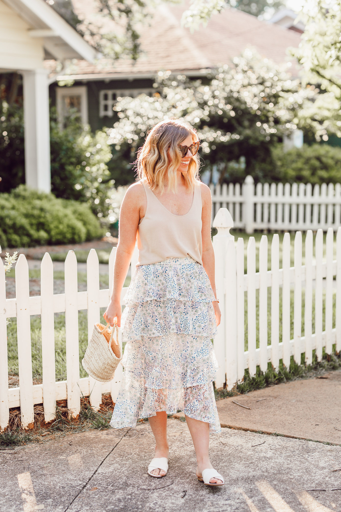 How to Casually Style a Midi Skirt this Summer | Casual Midi Skirt, Floral Midi Skirt | Louella Reese