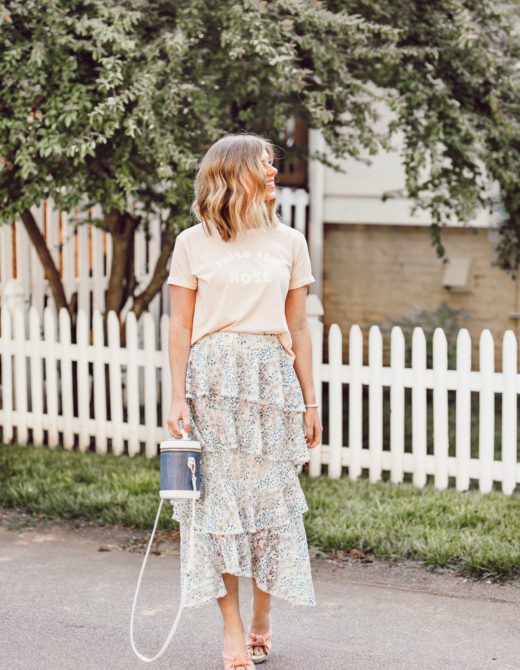 How to Dress Up a Crop Tee | Floral Midi Skirt, Rosé graphic tee | ft. Brunette the Label, Chicwish, Paravel | Louella Reese #summerstyle #midiskirt #femininestyle #chicwish #soludos