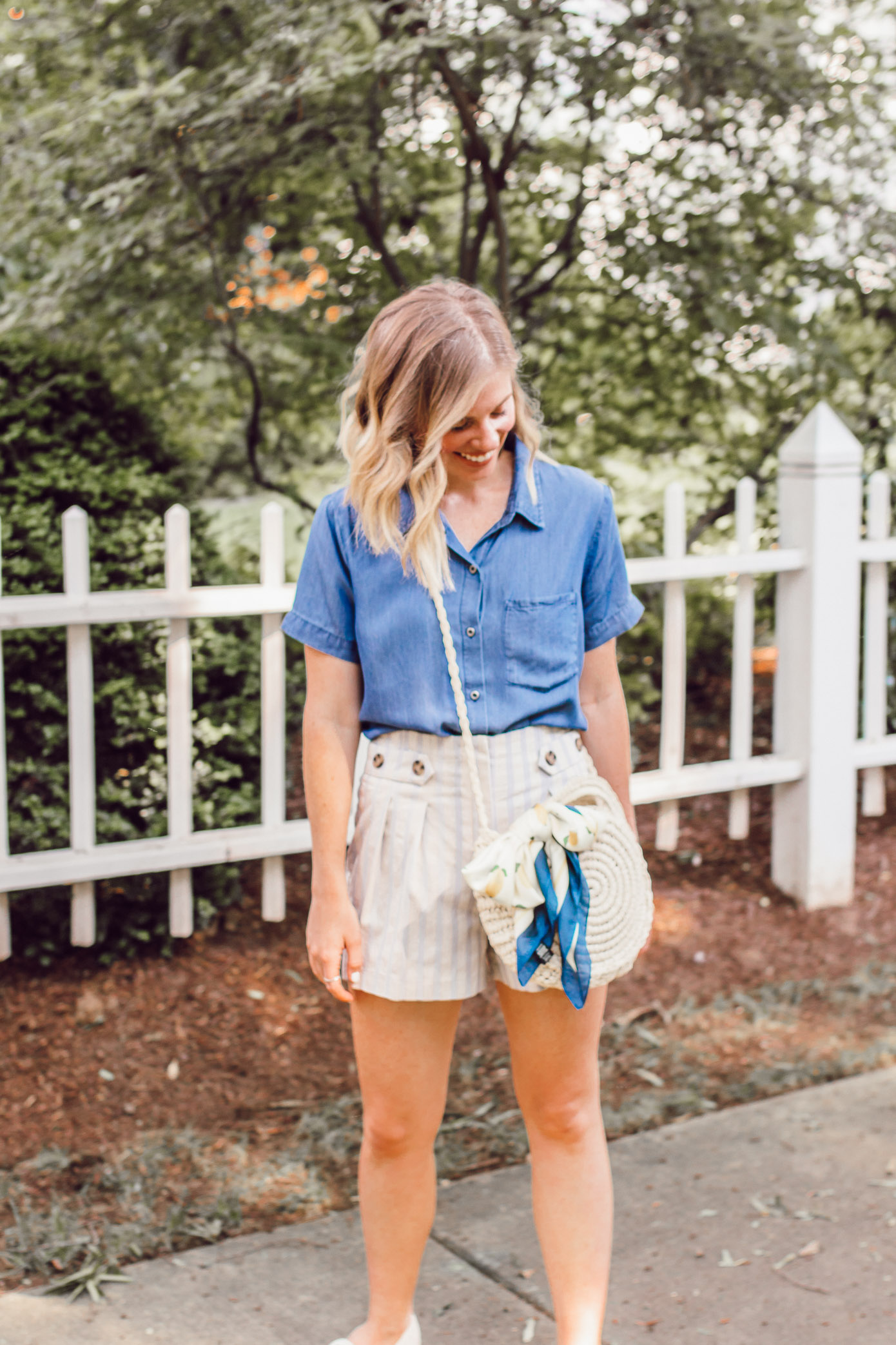 Chambray Short Sleeve Button Down Top, Stripe Linen Shorts | Casual Travel Outfit | Louella Reese