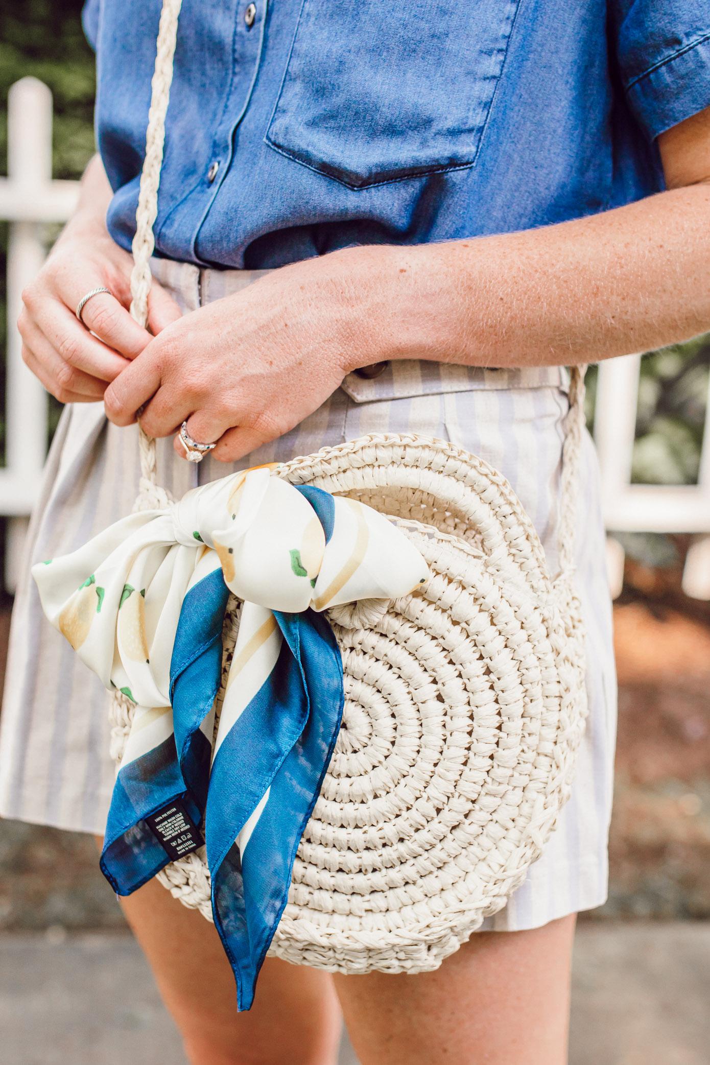 Round Straw Crossbody Bag under $25, Lemon Print Scarf | Louella Reese