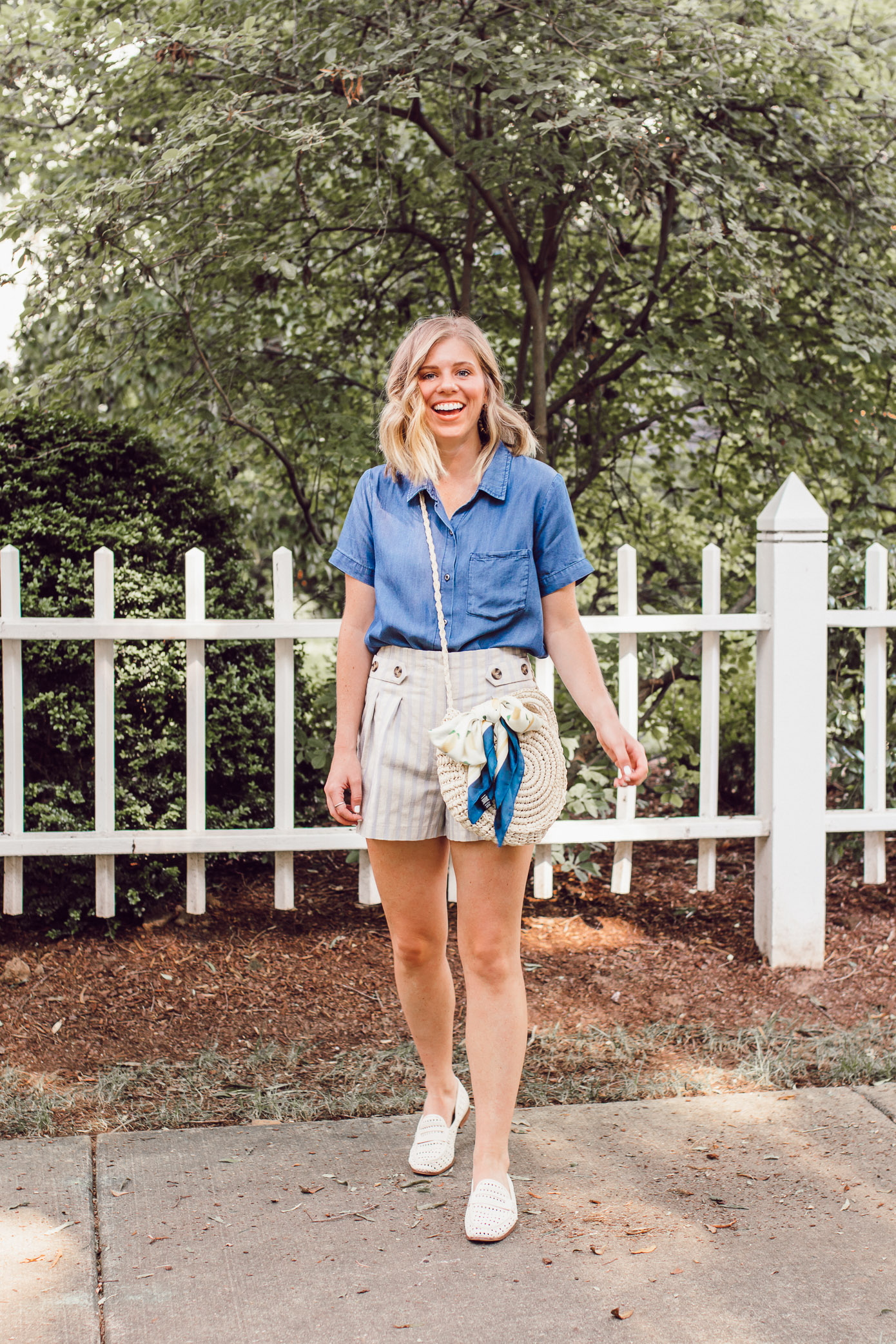 Affordable Casual Summer Style | Chambray Shirt, Stripe Linen Shorts, Straw Crossbody Bag under $25 | Louella Reese
