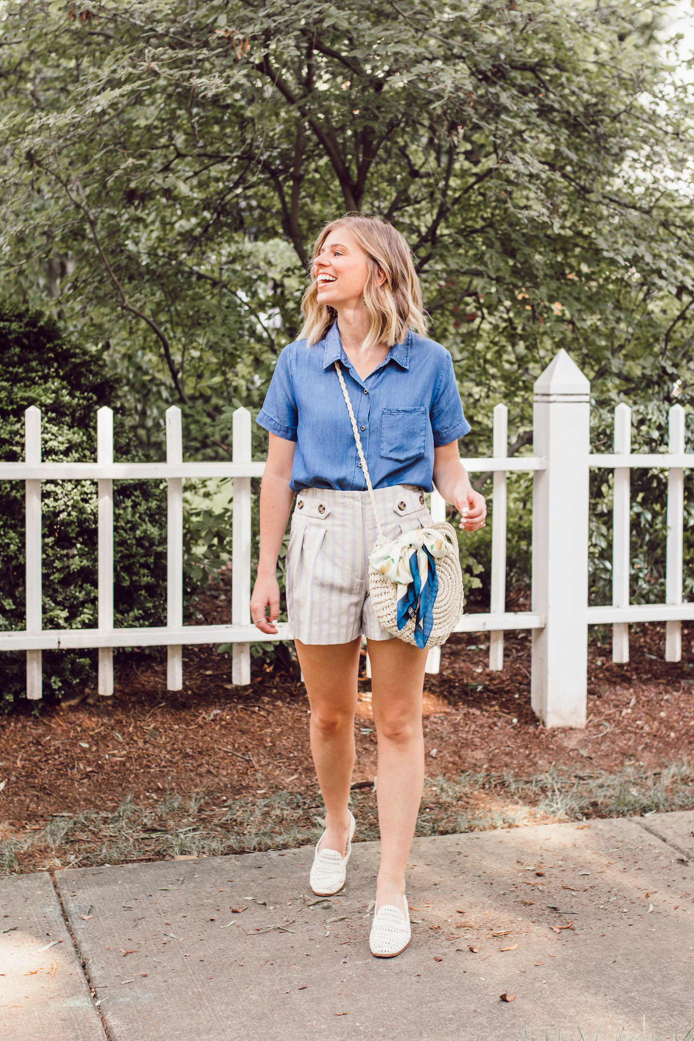 Casual Summer Style with Versona | Chambray Shirt, Stripe Linen Shorts, Straw Crossbody Bag under $25 | Louella Reese