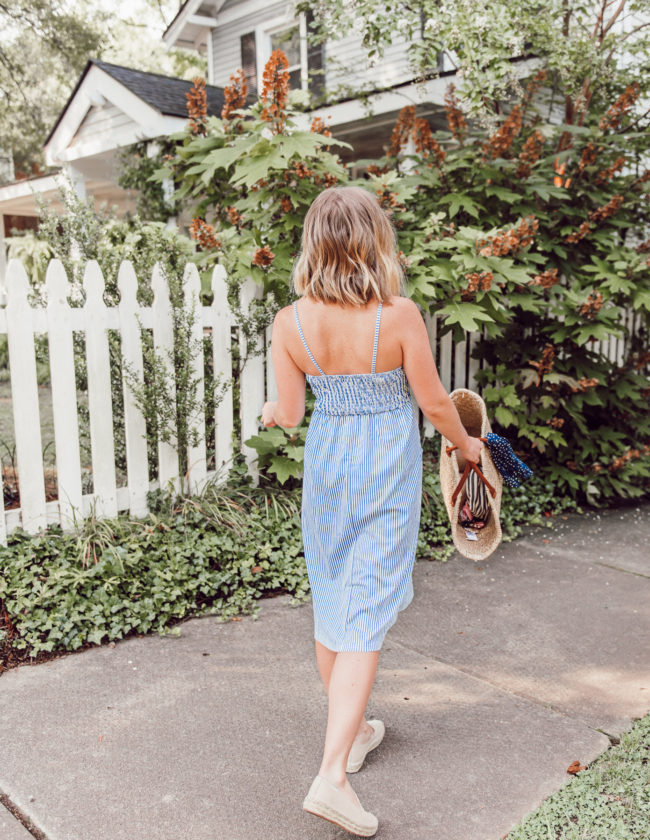 Blue and White Striped Midi Dress, Large Straw Tote, Navy Polka Dot Bandana, Espadrille Loafers | Casual Summer Style | Louella Reese