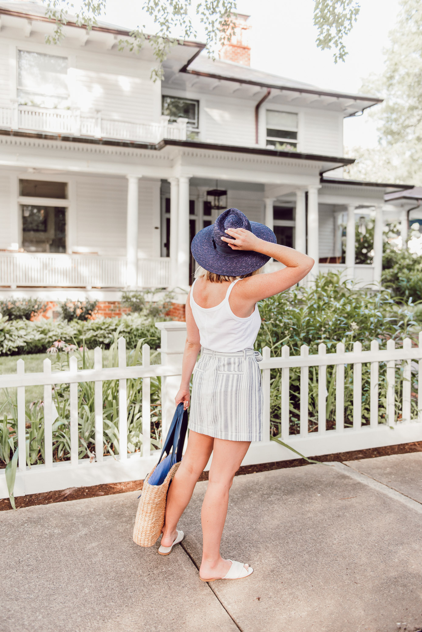 Blue and White Summer Outfit Idea, Large Straw Shopper Tote | Ft. Everlane, Sanctuary, Joules, Brixton | Louella Reese
