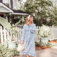 Laura Leigh of Louella Reese wearing the Amazon Mumu Dress | Blue Amazon Mumu Dress