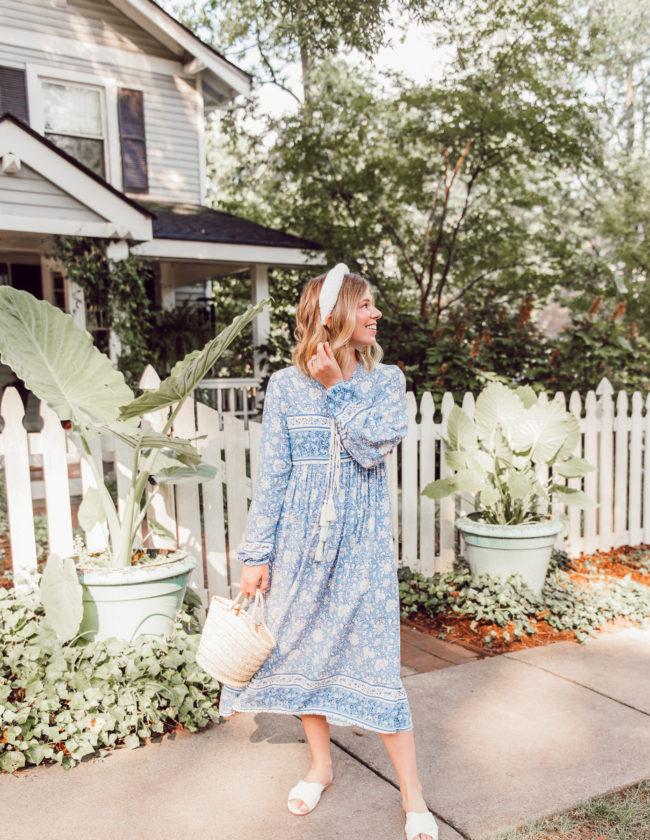 Laura Leigh of Louella Reese wearing the Amazon Mumu Dress | Blue Amazon Mumu Dress