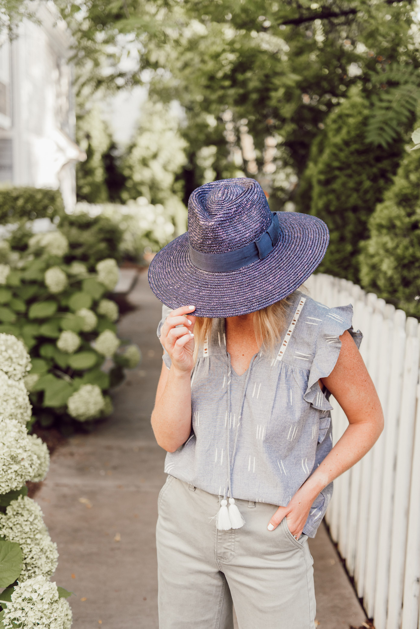 Navy Straw Hat Brixton - Summer Outfit Ideas | Louella Reese