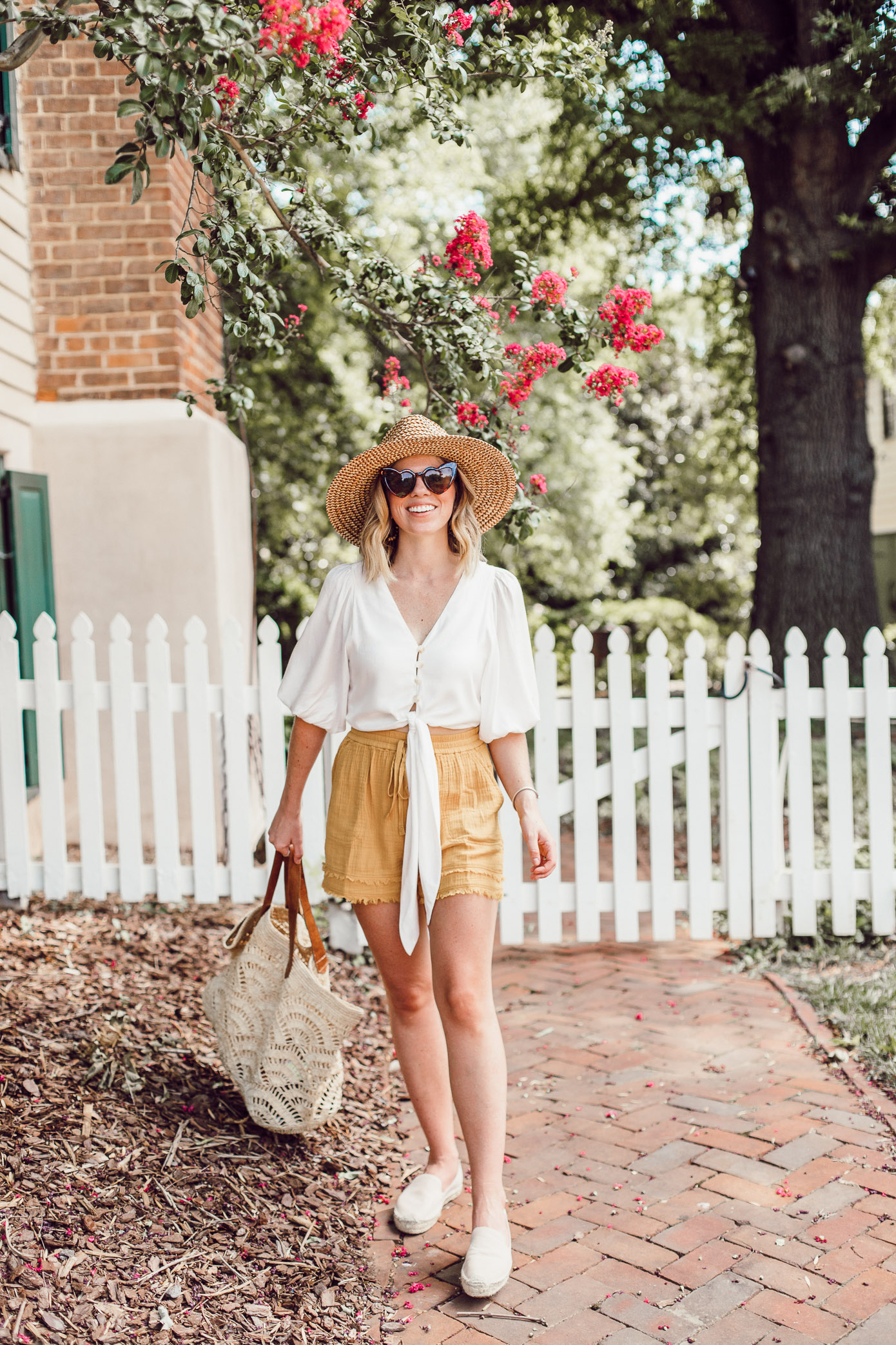 Winston-Salem Outfits - Everything I wore to explore Winston-Salem | White Tie Front Crop Top, Yellow High-Waisted Shorts | Louella Reese