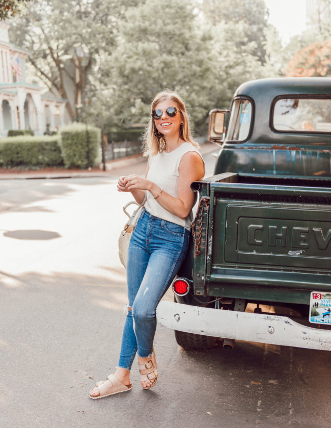 Affordable Summer to Fall Transition Essentials   Casual Outfit Idea   Neutral Tank, High-Rise Skinny Jeans, Rose Gold Birkenstocks   Louella Reese