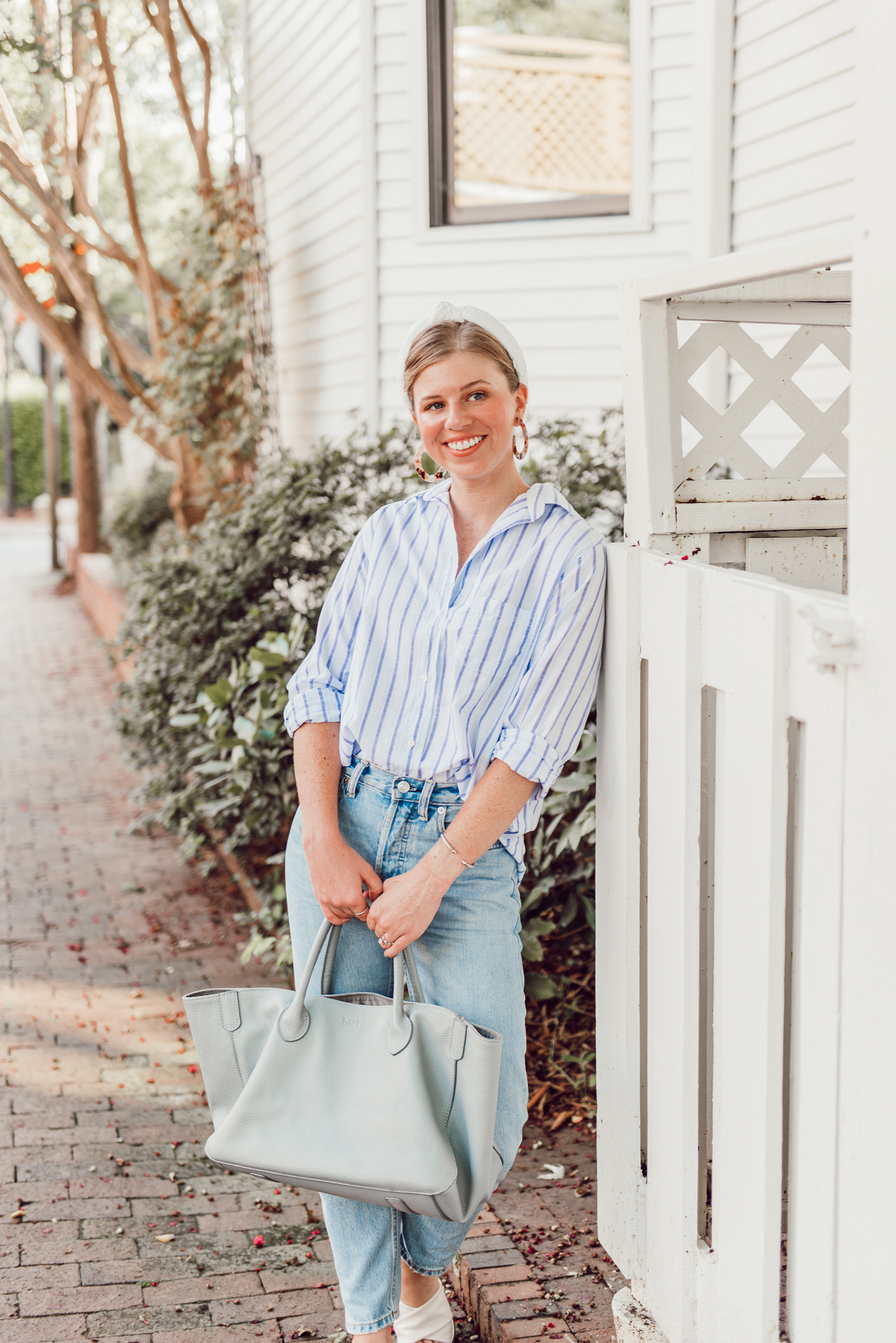 Blue and White Outfit Idea | Blue and White Striped Button Down Shirt, Relaxed Boyfriend Jeans under $100, Lele Sadoughi Headband | Louella Reese