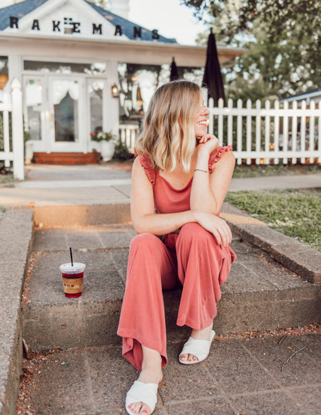 Kicking a Bad Habit and Starting the Day Off in a Good Mood   Terra-cotta Jumpsuit, Jumpsuit for Fall   Louella Reese