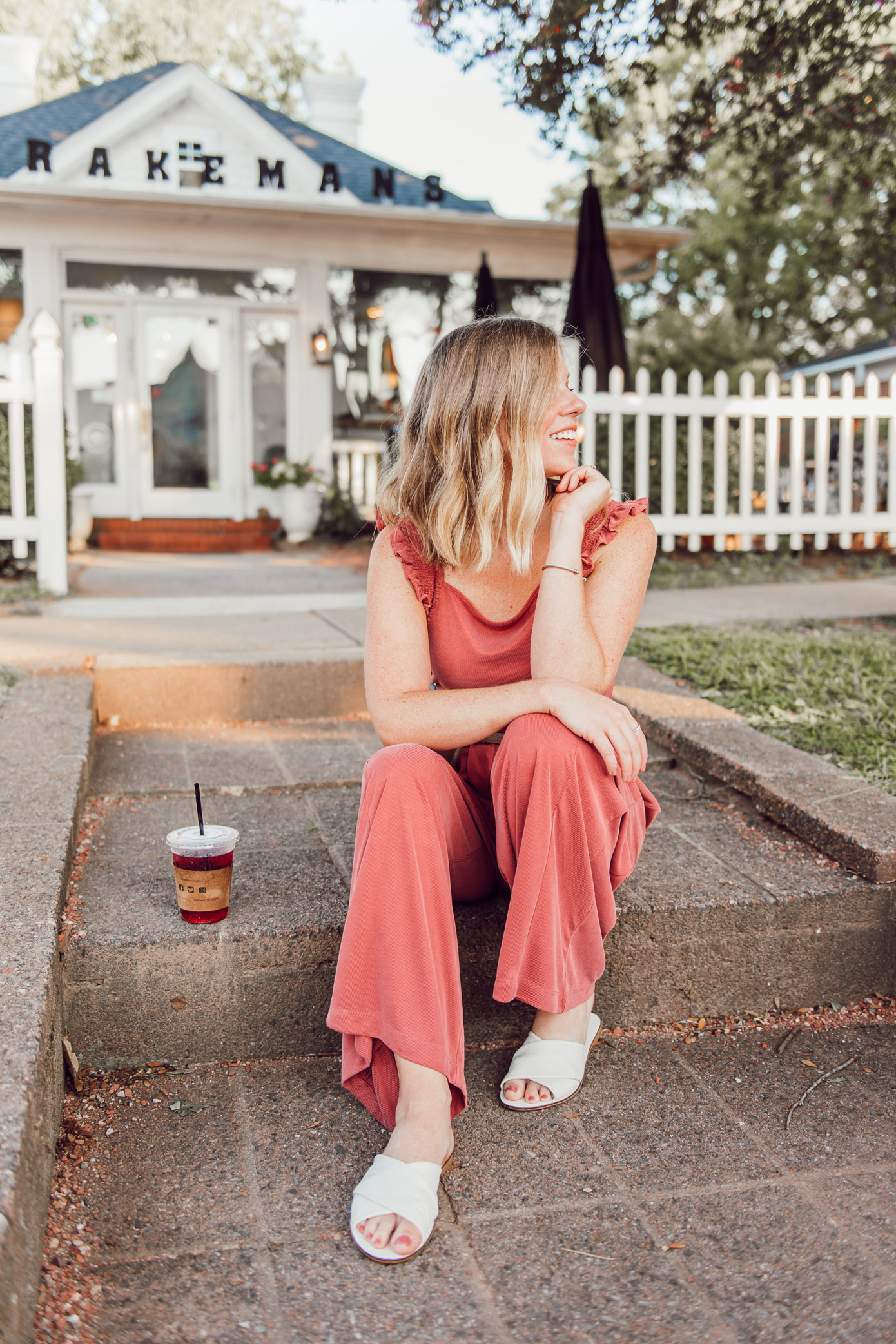 Kicking a Bad Habit and Starting the Day Off in a Good Mood | Terra-cotta Jumpsuit, Jumpsuit for Fall | Louella Reese