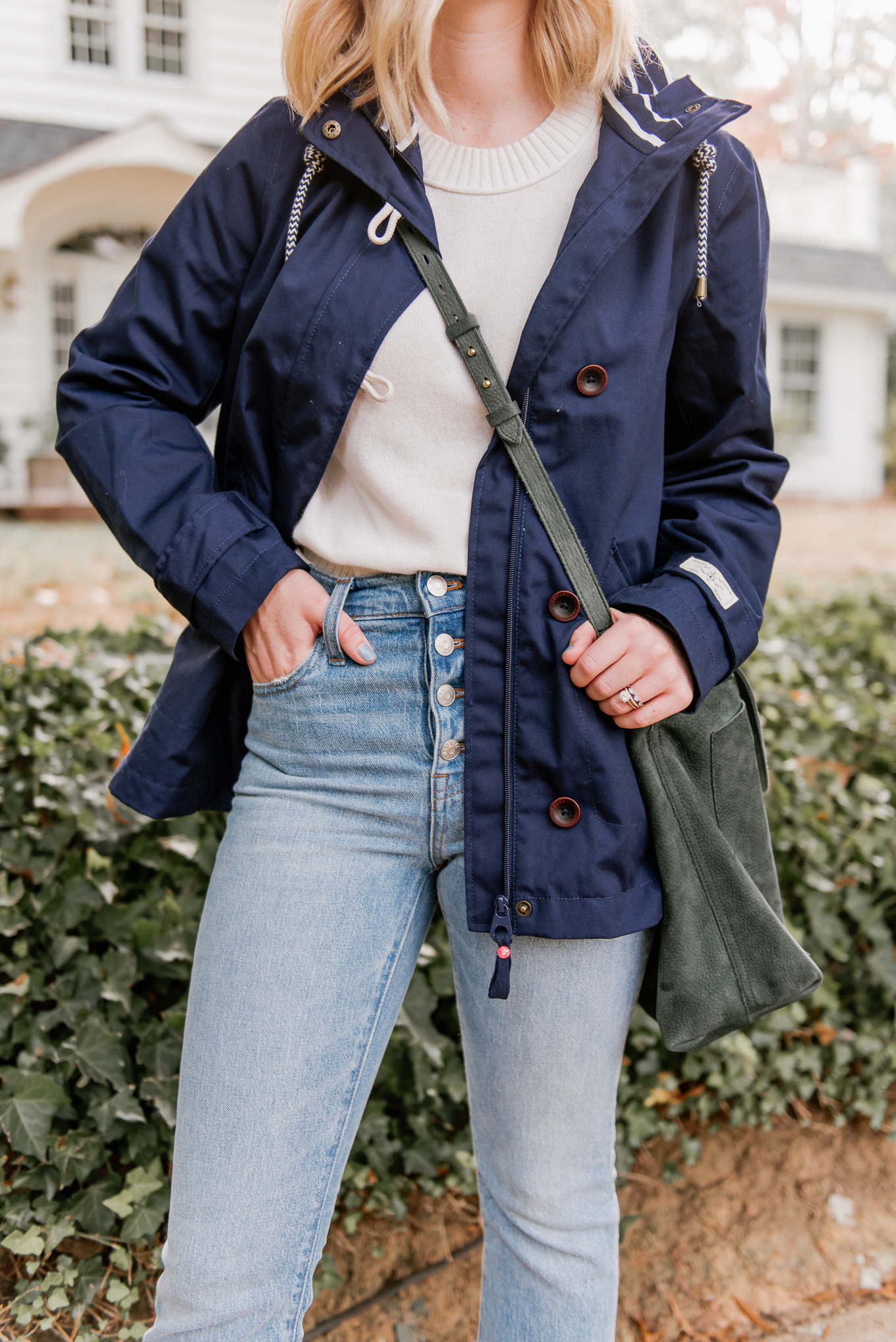 Fall Rain Jacket | The Perfect Medium Weight Rain Jacket, Button Front Jeans | Louella Reese