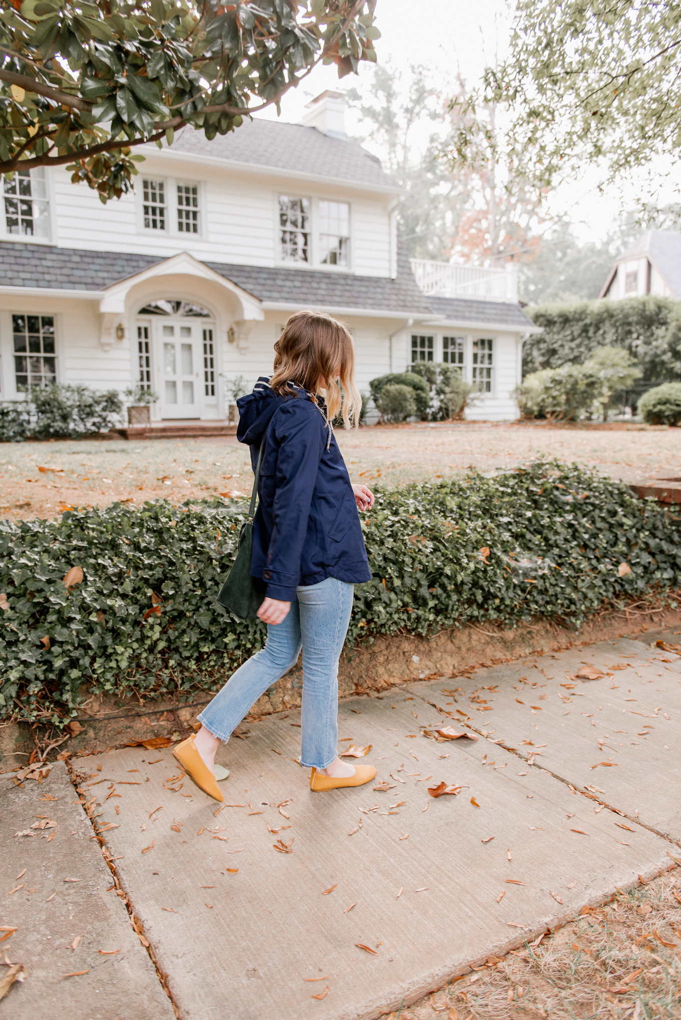 Fall Rain Jacket | The Perfect Medium Weight Rain Jacket, Yellow Knit Flats | Louella Reese