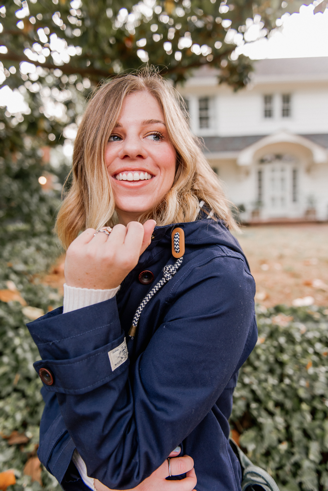 Fall Rain Jacket | The Perfect Medium Weight Rain Jacket, Preppy Navy Jacket | Louella Reese