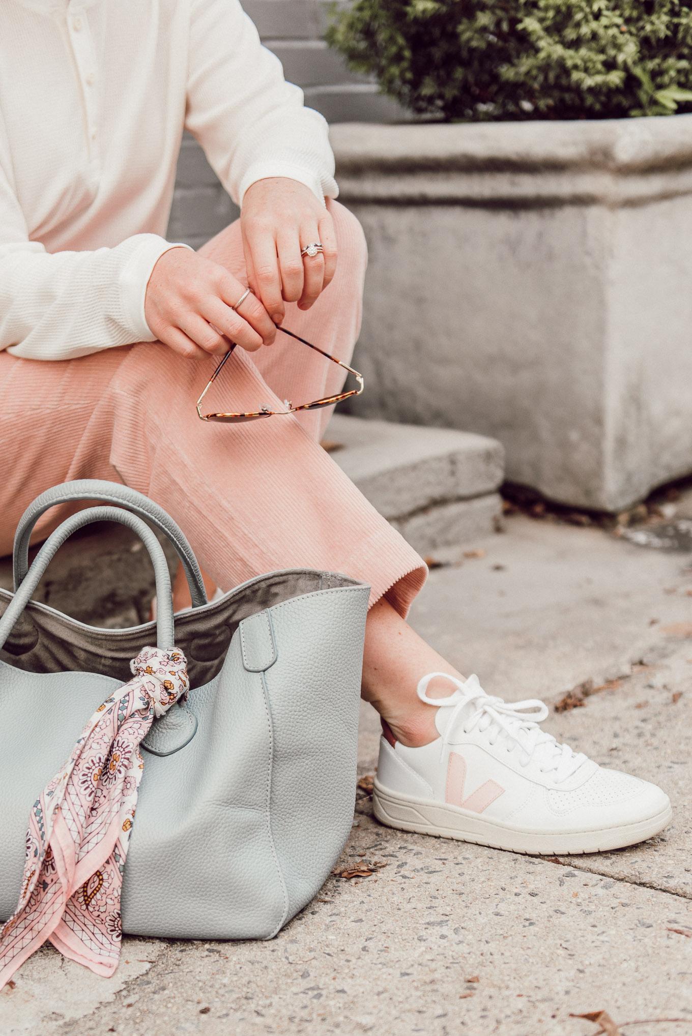 Pink Corduroy Pants, Veja Sneakers | Louella Reese