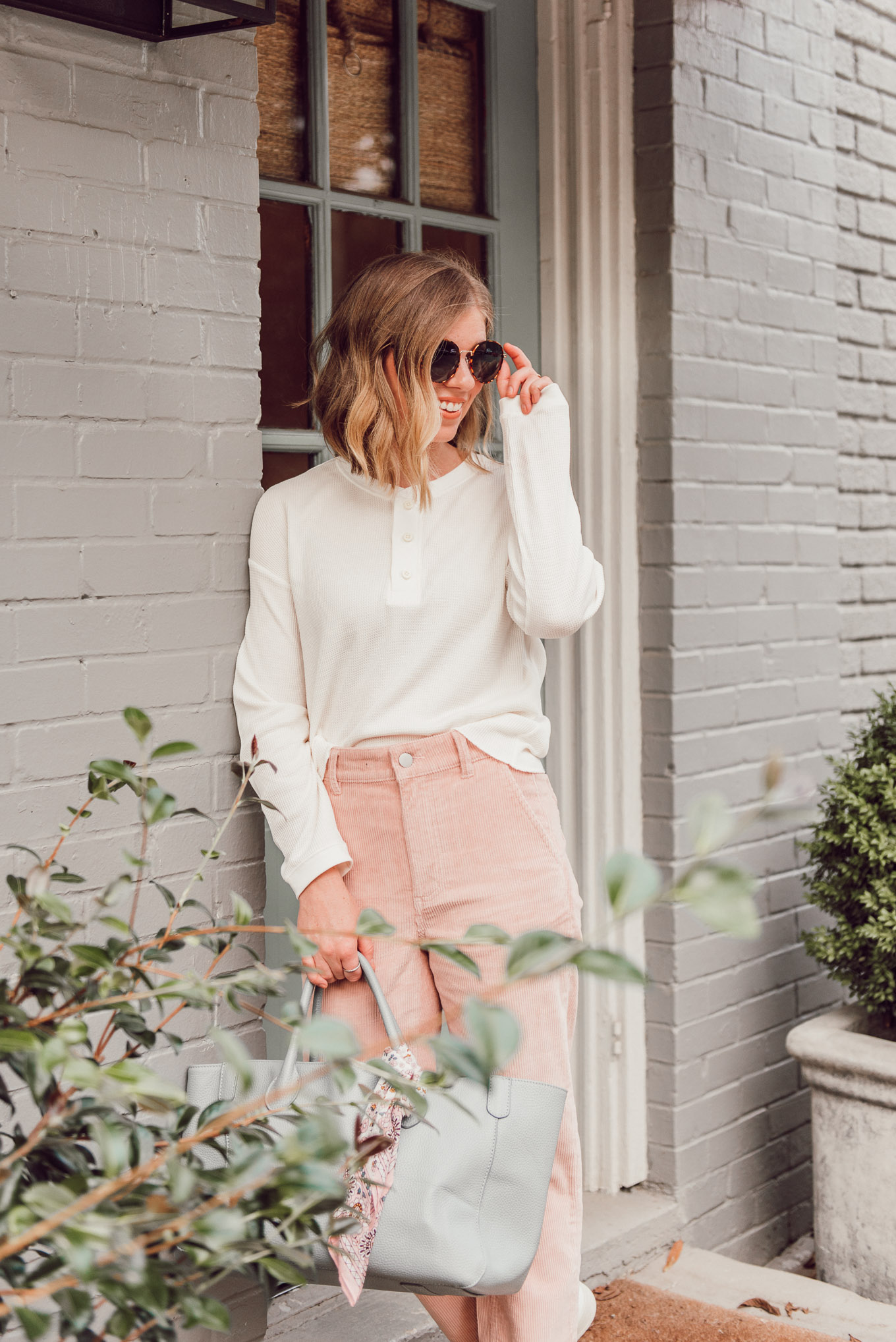 Henley Tops for Fall, Corduroy Pants | Louella Reese