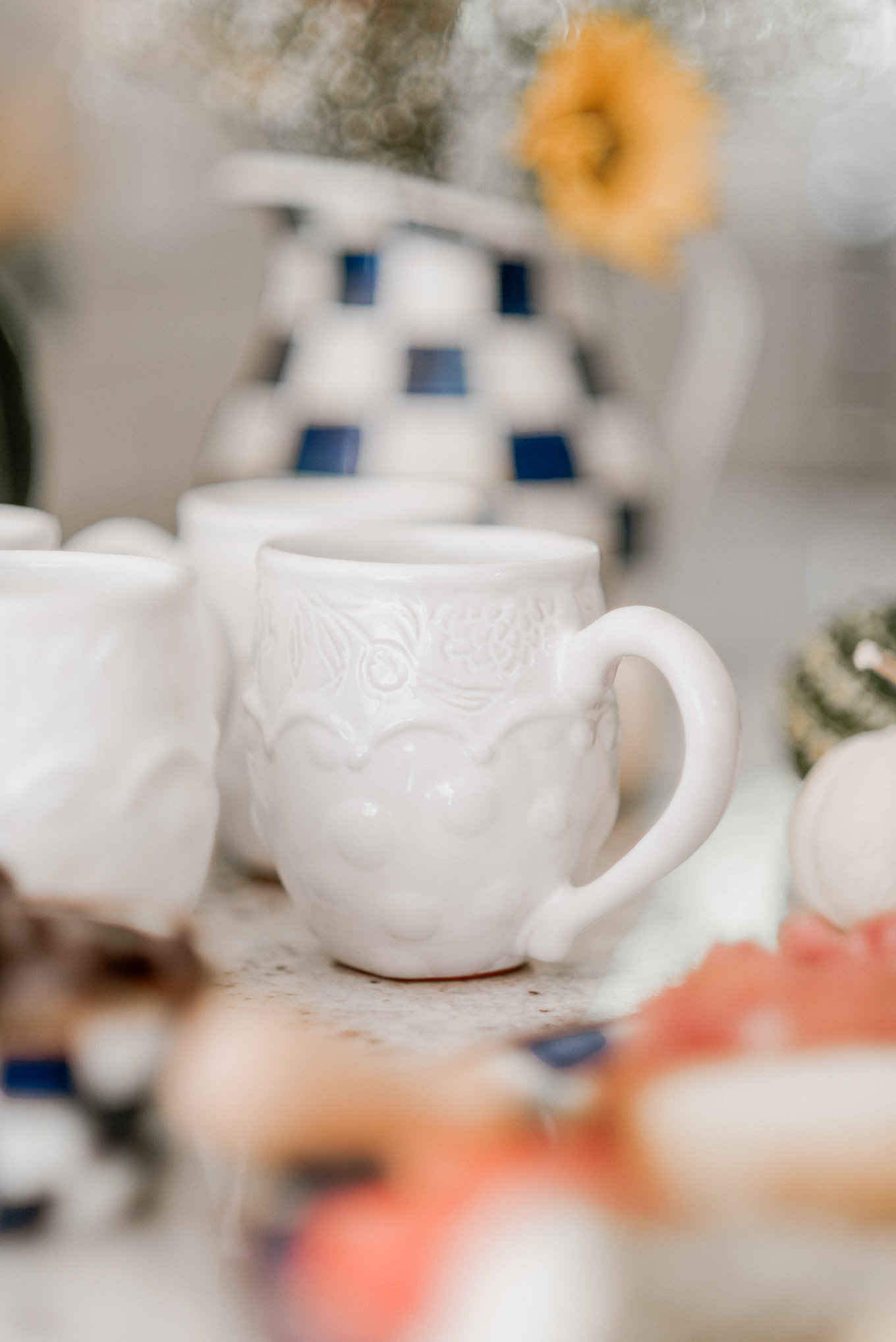 White Coffee Mugs | Fall Entertaining | Louella Reese