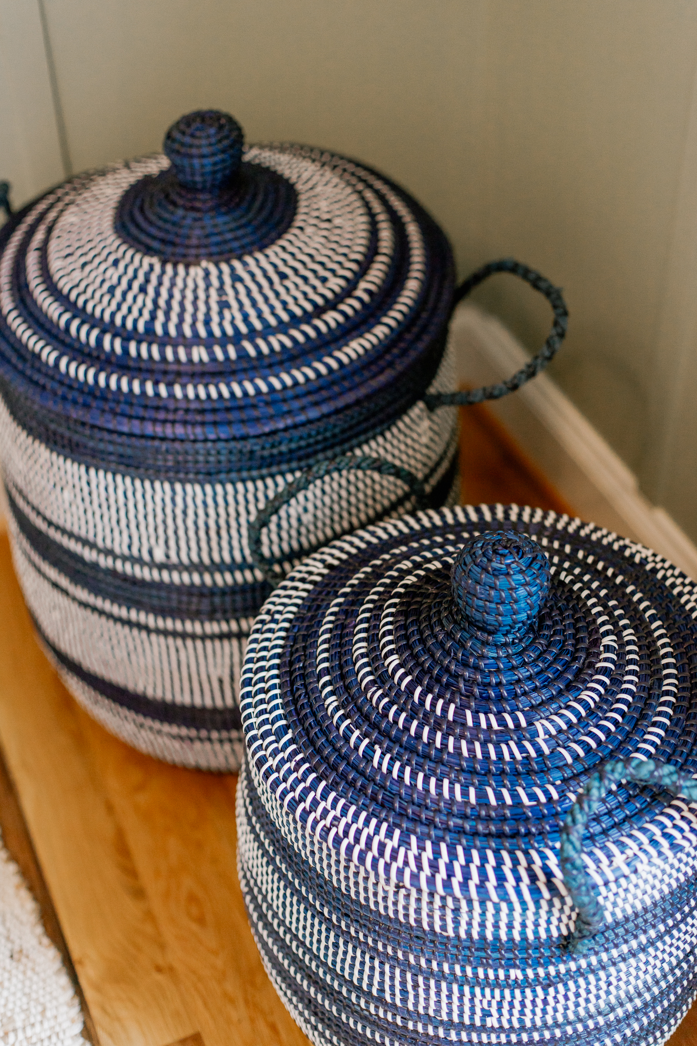 Navy and White Woven Baskets, Baskets for Storage | Louella Reese