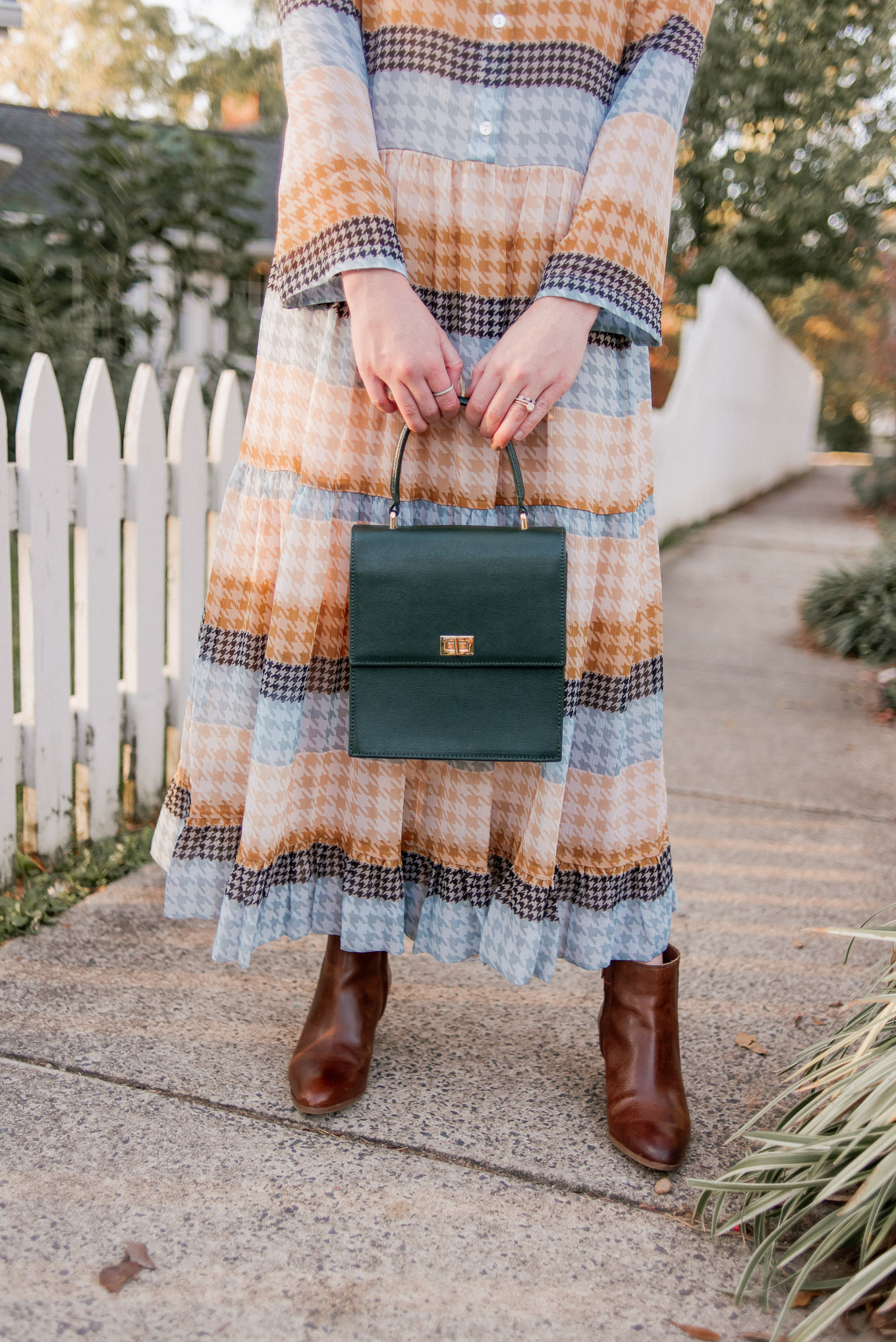 Tips on Creating a Capsule Wardrobe | Plaid Midi Dress, Fall Midi Dress, Fall Dress, Green Top Handle Bag, Brown Leather Booties | Louella Reese