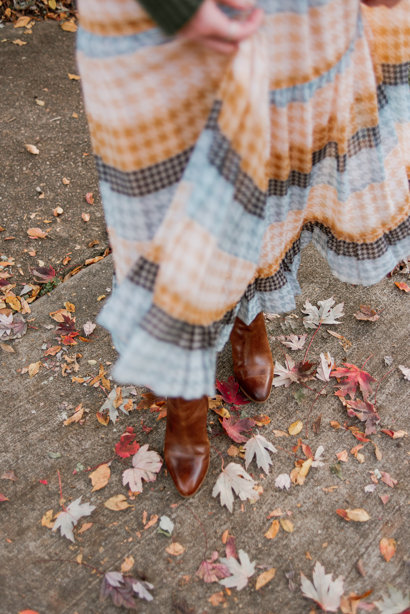 Plaid Midi Dress, Yellow Midi Dress, Leather Cognac Booties | Casual Fall Outfit Idea, Fall Midi Dress | Louella Reese