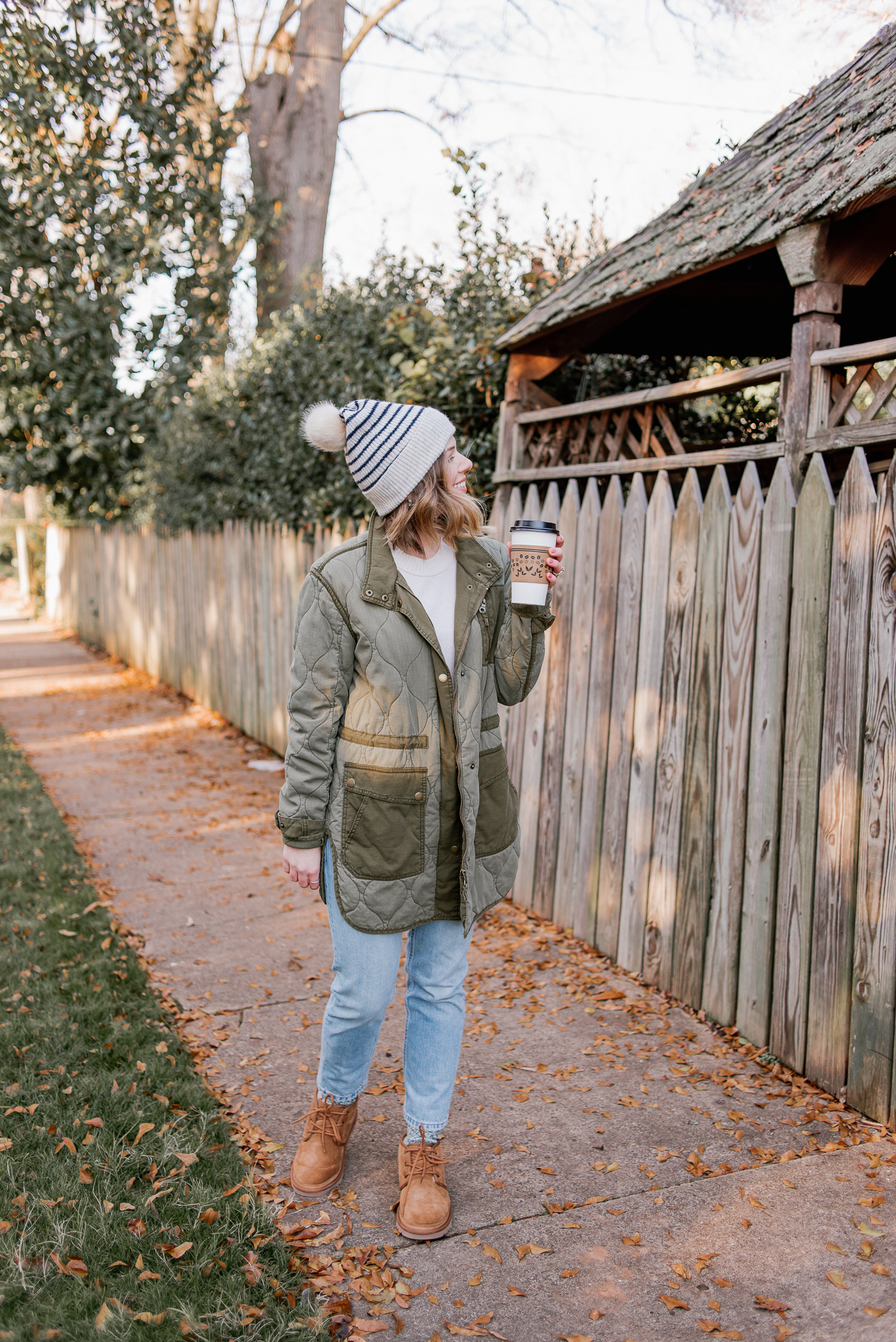 Laura Leigh Elliott of Louella Reese pairs the Ugg Neumel winter boots with a quilted field jacket and beanie for a cute winter look