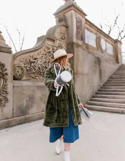 The Best Green Faux Fur Coats under $200 | NYC Photoshoot Locations - Louella Reese
