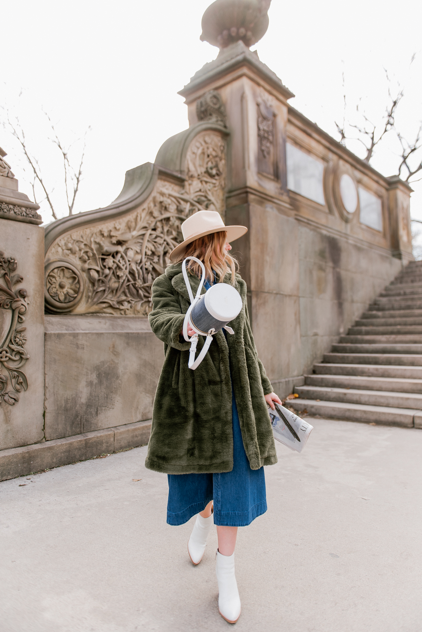 The Best Green Faux Fur Coats under $200   NYC Photoshoot Locations - Louella Reese