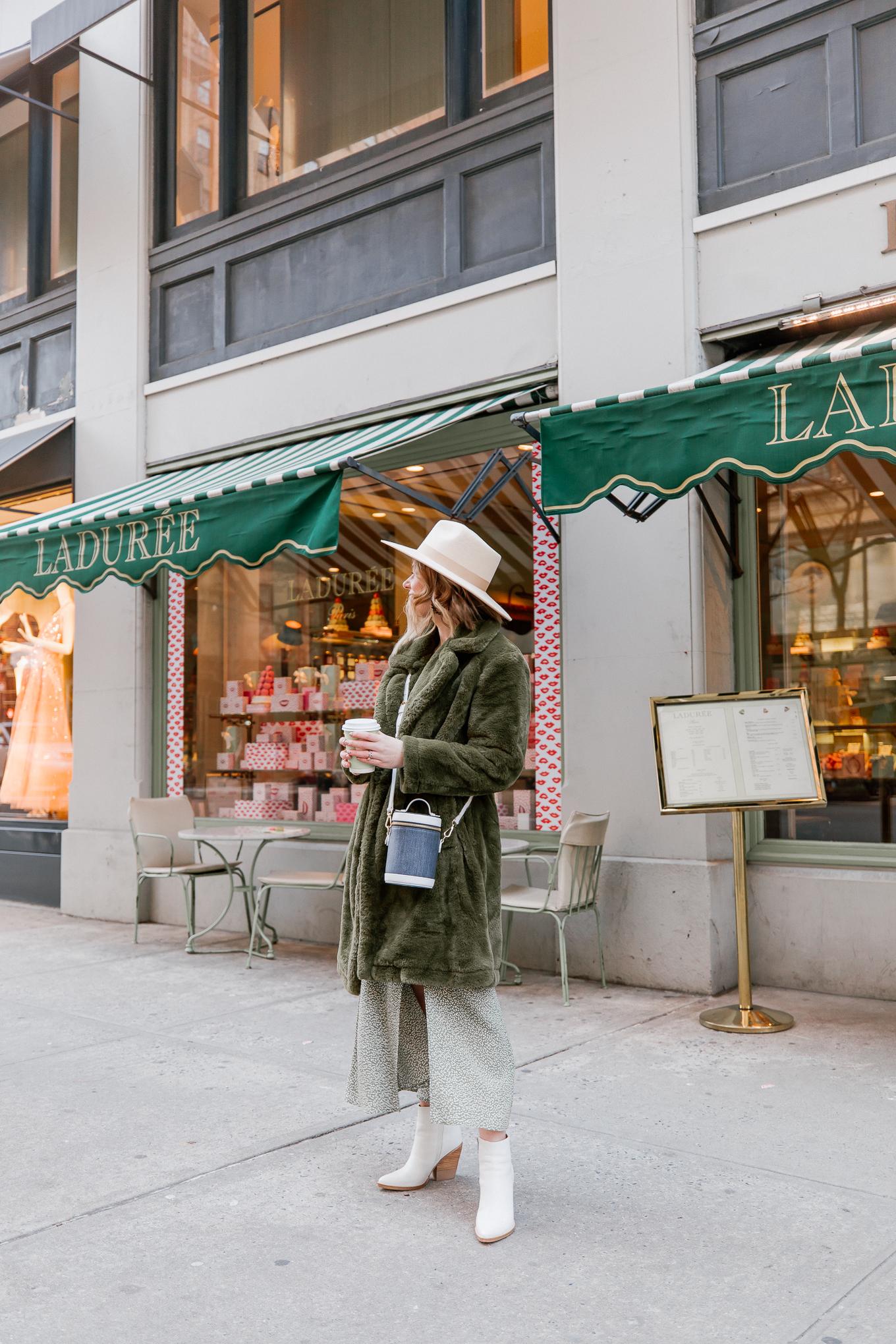 Faux Fur Coat, Green Floral Dress | Louella Reese