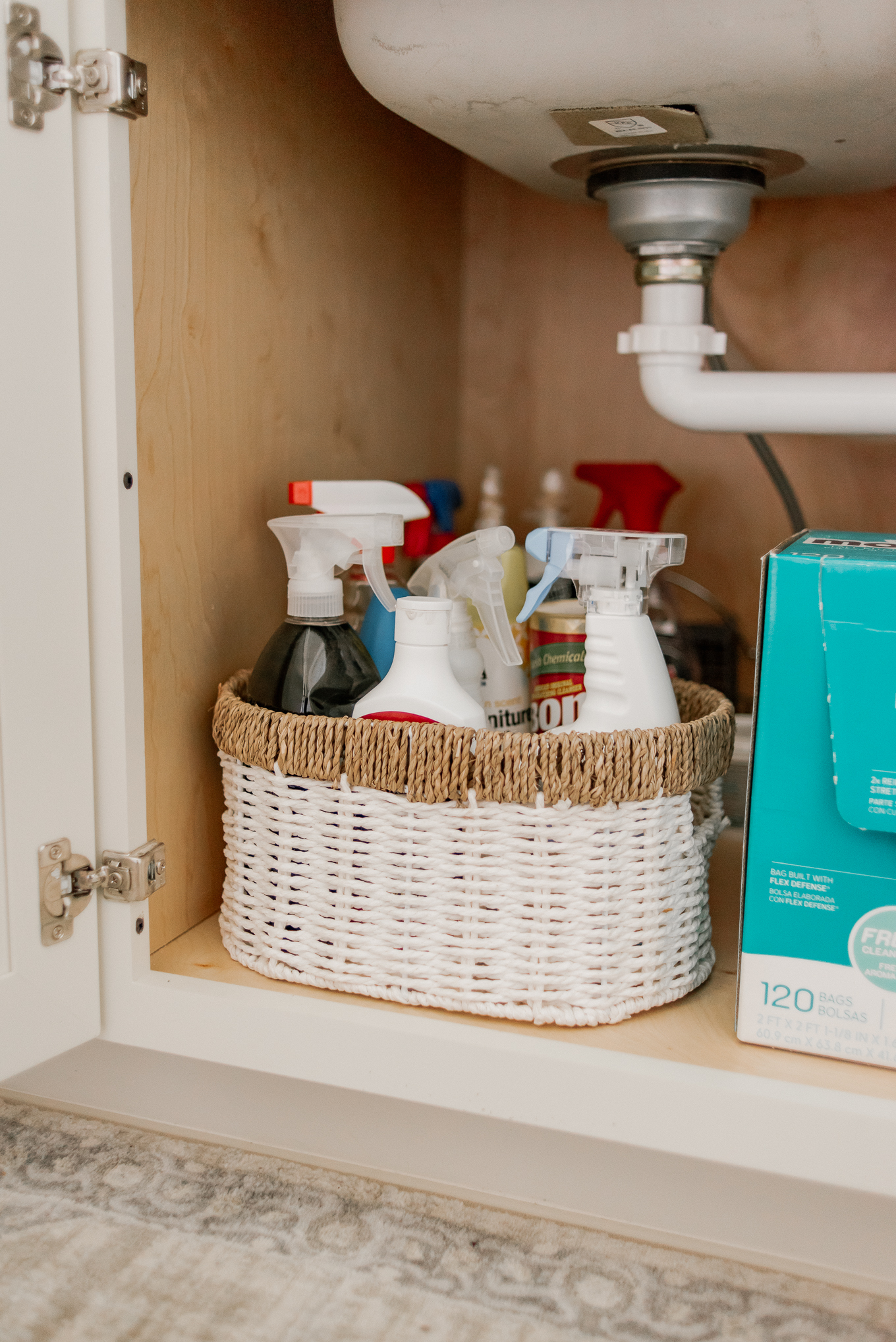 How to Organize Under Your Kitchen Sink | Baskets for under the Sink | Louella Reese