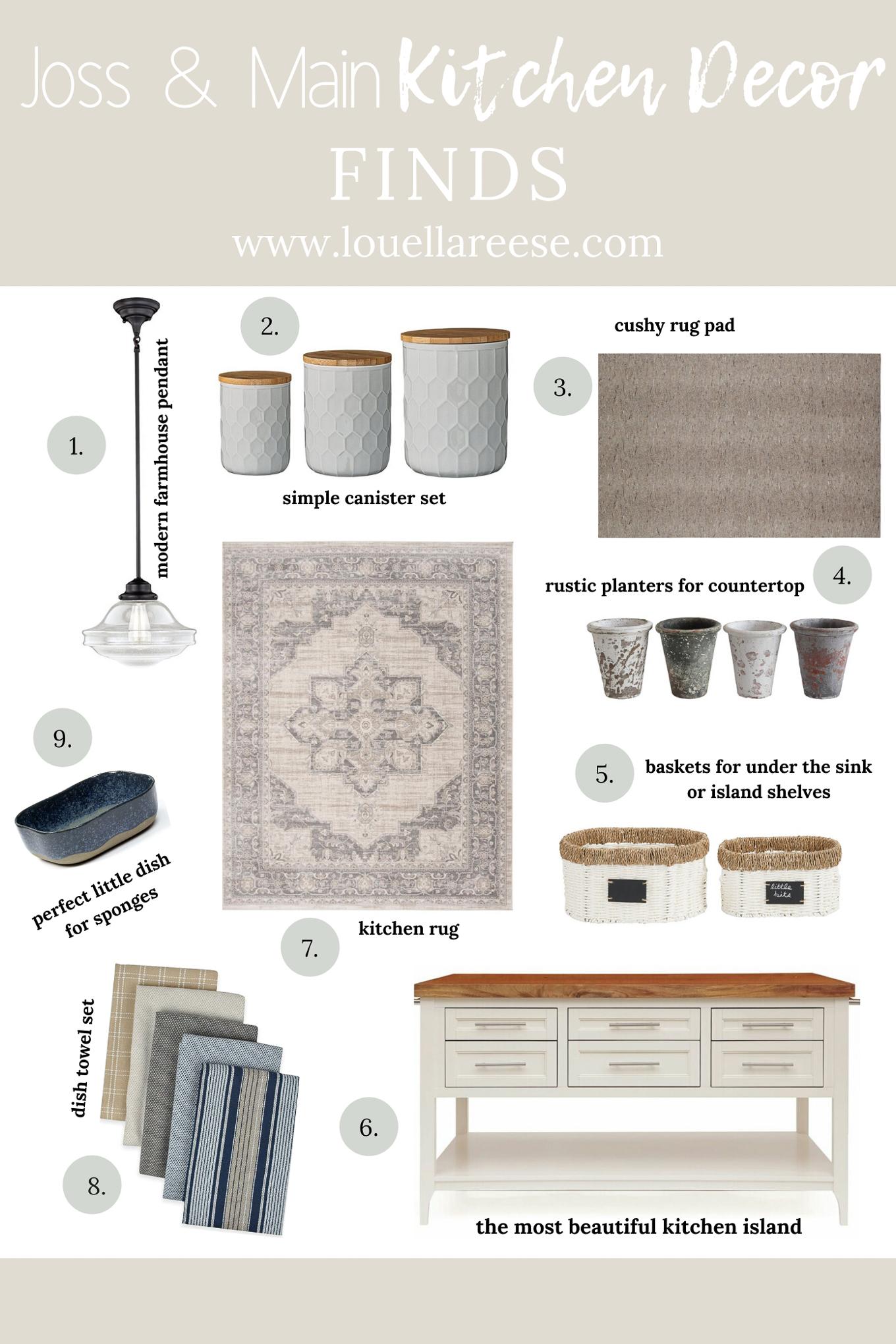 Kitchen Decor Finds | Kitchen Rug, Kitchen Pendant, Kitchen Island | Louella Reese