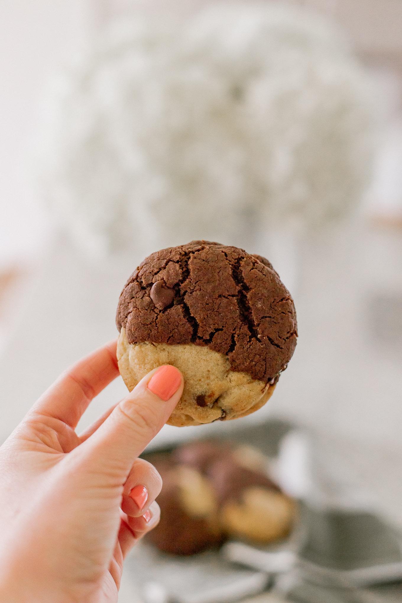The BEST BROOKIE Recipe - Half Brownie, Half Chocolate Chip Cookie Cookies   Louella Reese