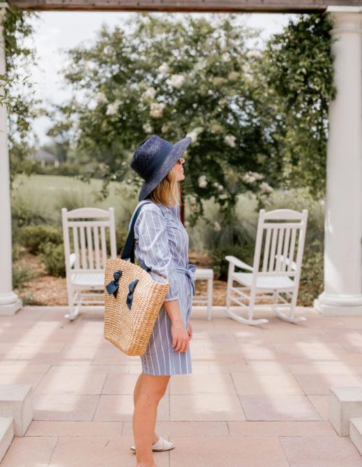 Warm Weather Wardrobe Basics, Wardrobe Essentials | Navy Straw Hat, Wide Leg Chinos, White Leather Sandals | Louella Reese